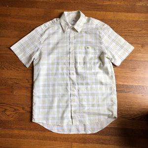 Lacoste Linen Blend Plaid Short Sleeve Shirt sz 42